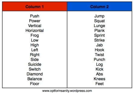 Select two words from Column 1, and one word from Column 2