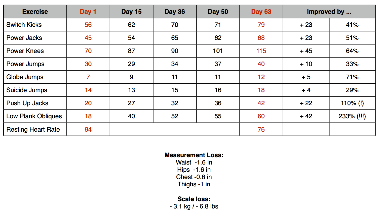 Fitness Test | Insanity Workout Log